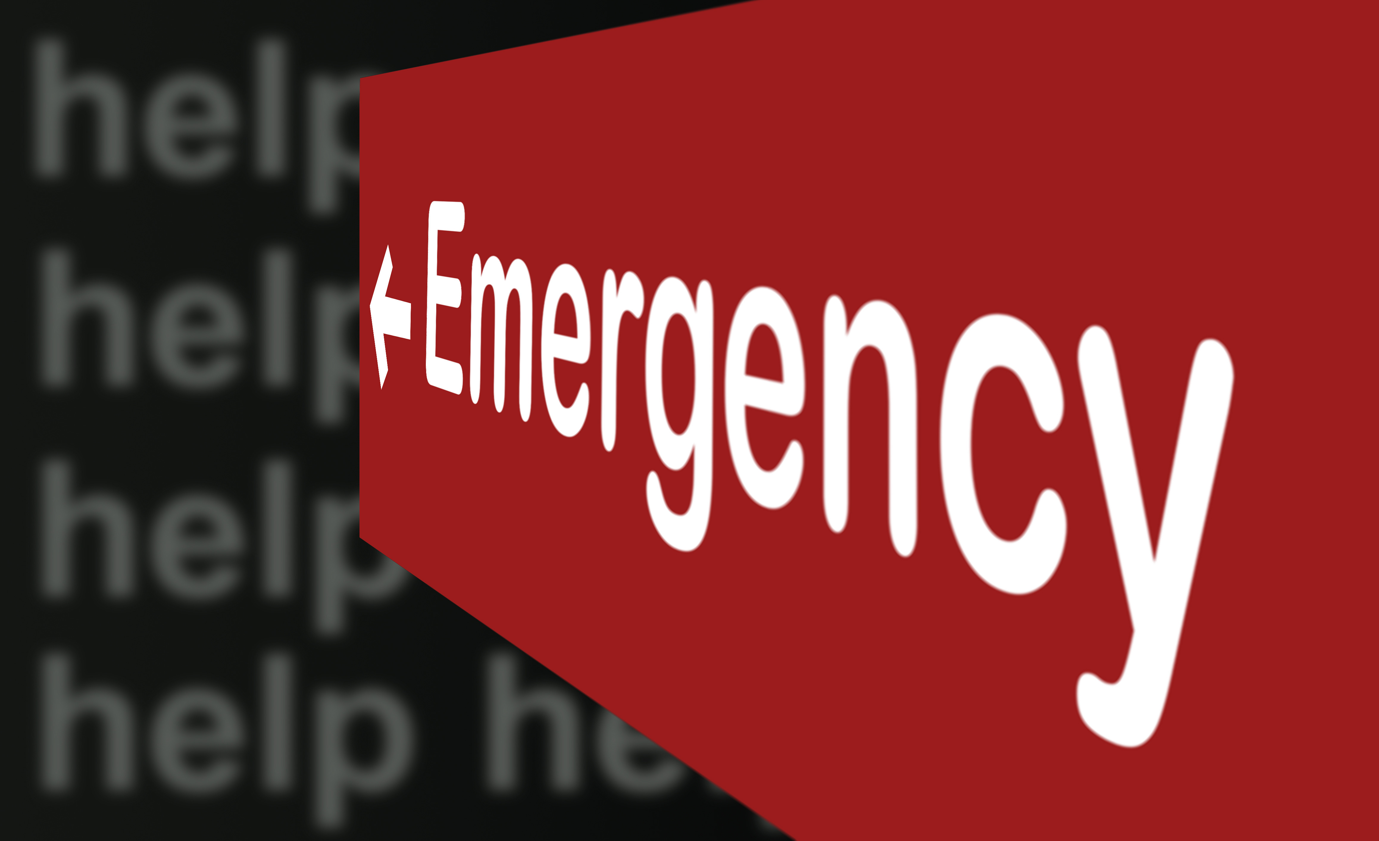 Emergency Sign with help words in background made in 2d software